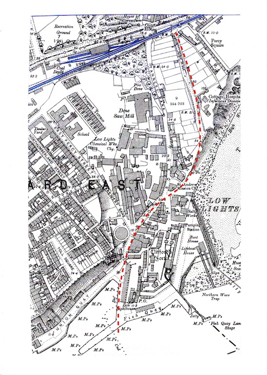"""OS 25"""" 2nd Ed - Low Lights with approx route Whitley waggonway in red - reduced size for forum.jpeg"""